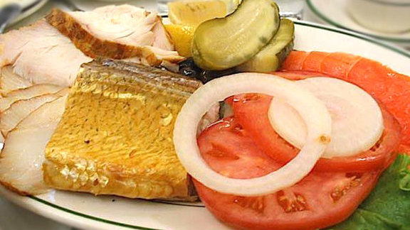 Sturgeon, Nova Scotia salmon, & whitefish platter at Barney Greengrass