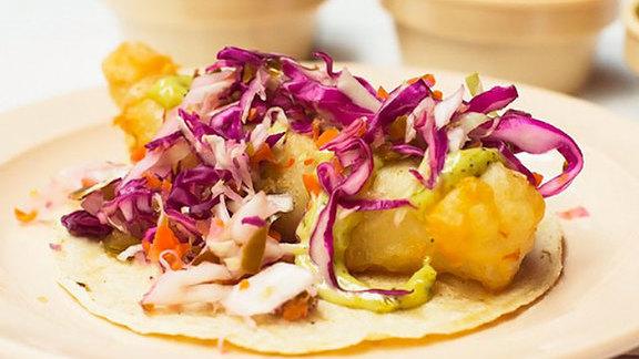 Crispy fish taco at Tacombi at Fonda Nolita