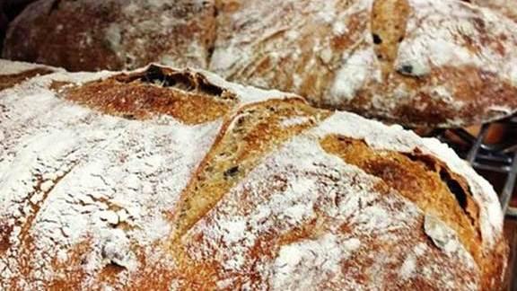 Olive ciabatta bread at Tre Mari Bakery