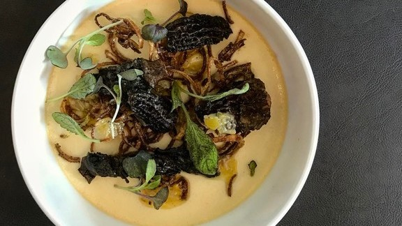 Leek egg custard with morels at Lula Café