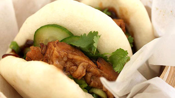 Pork belly steamed bun at Satay Brothers