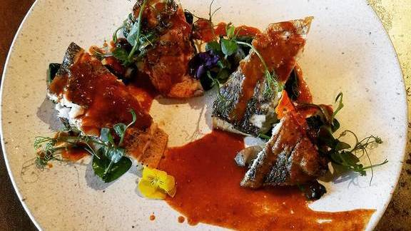 Bream fish with lobster mole sauce at Kata Robata
