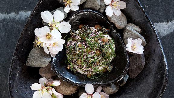 Whipped yogurt, black sesame, pickled plum shiso at The Restaurant at Meadowood