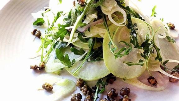 Chef Luis Contreras reviews Kohlrabi salad at A16