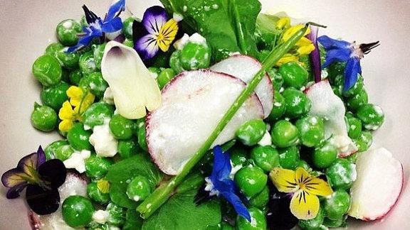 Chef Hiro Sone reviews English pea salad at
