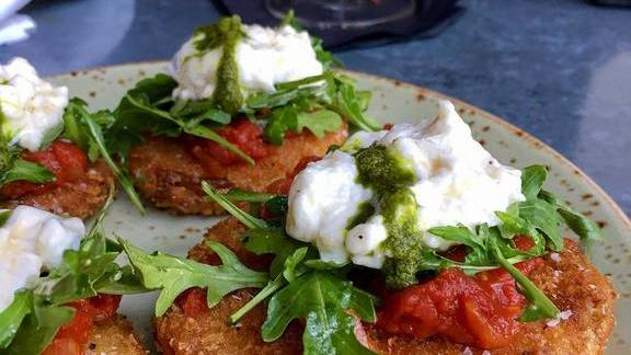 Chef Carl Schroeder reviews Fried green tomatoes  at Bankers Hill Bar & Restaurant