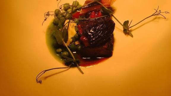 Kombu-glazed morels, peas, horseradish at Senia