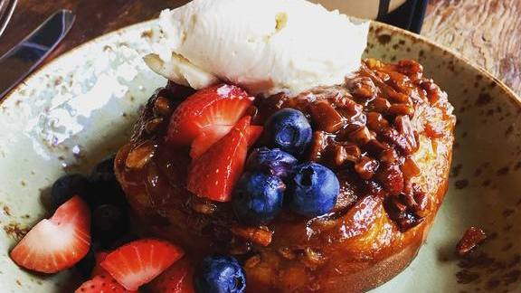 Chef Carl Schroeder reviews Sticky bun with berries at Bankers Hill Bar & Restaurant