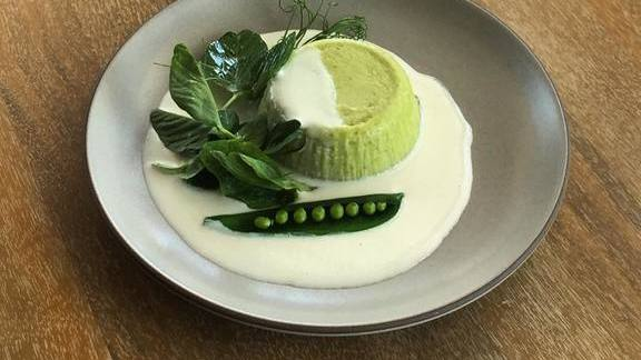 Spring pea Sformato with pecorino crema at Fi'lia