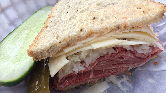 Chef Katherine Clapner reviews Beef tongue sandwich at