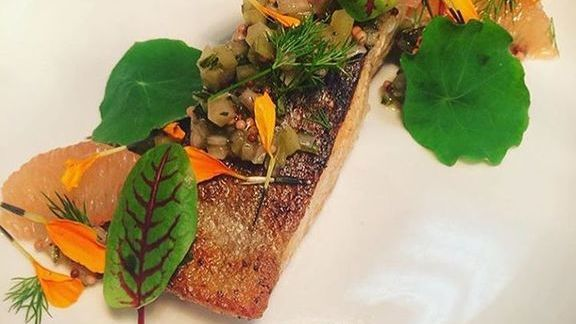 Wild Alaskan salmon with preserved lemon and green tomato relish at Fifty First Kitchen & Bar