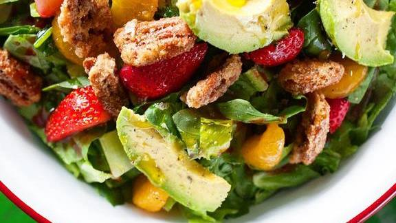 Summer Salad, spinach, romaine, avocado, strawberry, mandarin orange, candied pecans at Punk's Simple Southern Food