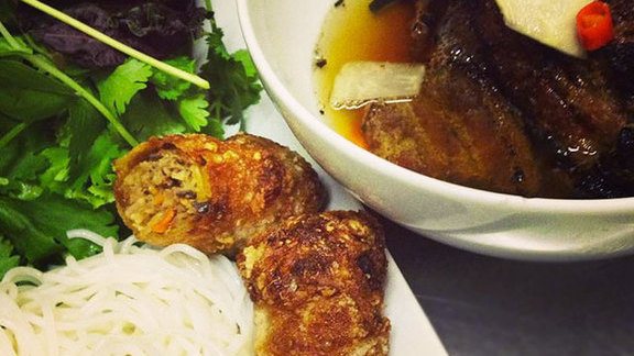 Chargrilled pork belly & pork meatball at Mot Hai Ba