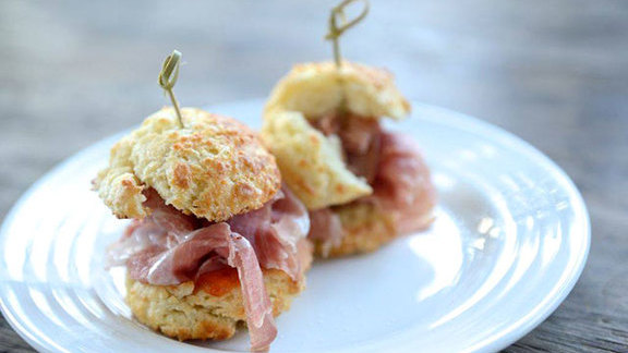 Mini ham sandwiches w/ fresno pepper jelly at Farmstead at Long Meadow Ranch