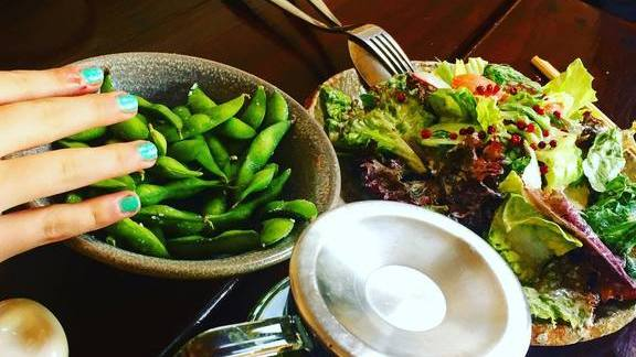 Edamame, salad and green tea at Iyasare
