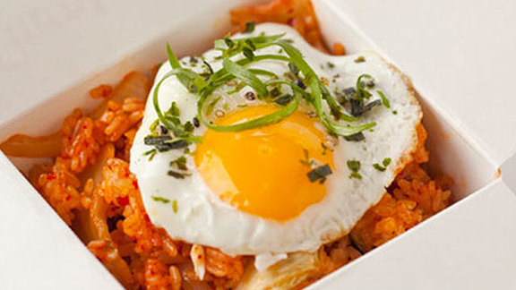 Chef Rachel Yang reviews Kimchi rice bowl at Marination Station