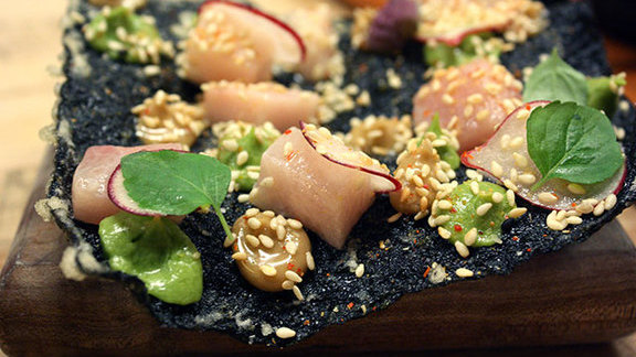 Hamachi-avocado & seaweed cracker at State Bird Provisions