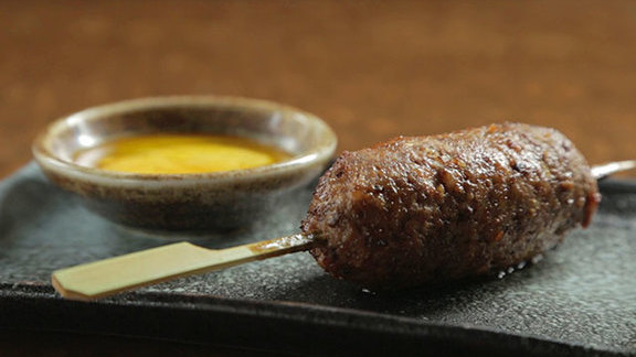 Tsukune w/ egg yolk sauce at