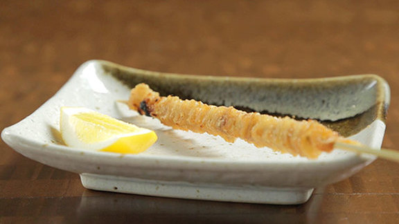 Chicken skin w/ sudachi salt & lemon at