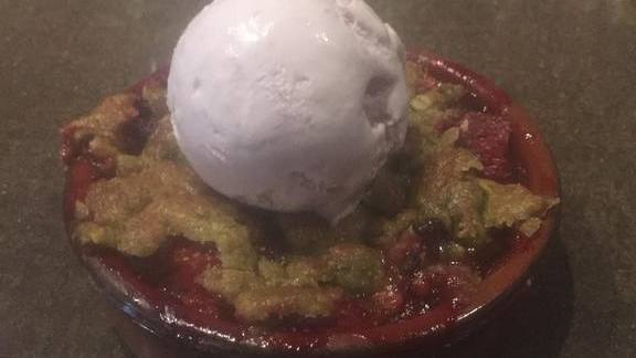 Strawberry crisp, pistachio matcha, roasted strawberry cream cheese ice cream at Three Muses