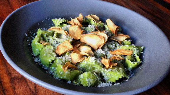 Chef Jacob Des Voignes reviews Sunchoke agnolotti, truffles, & dino kale at