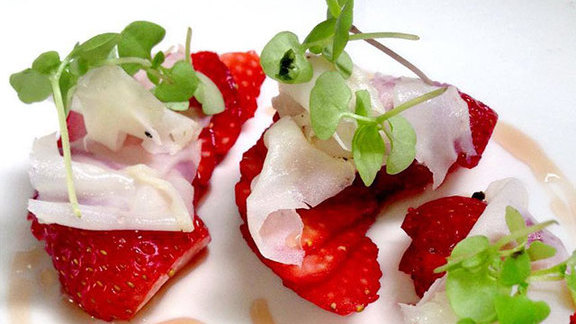 Strawberries & lardo at Swift's Attic