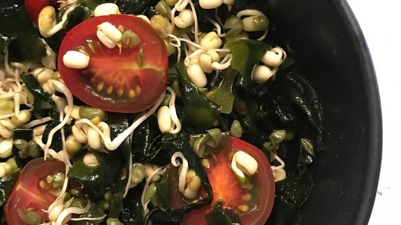 Seaweed salad with sprouted mung bean, wakame, tomato and soy dressing at Otaku South
