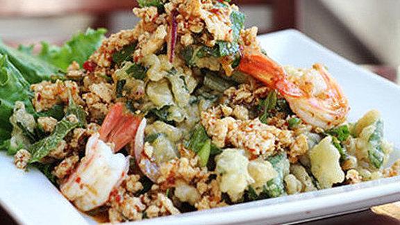 Chef Noah Sandoval reviews Crispy onchoy salad at