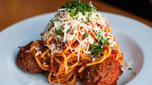 Spaghetti with meatballs at Emmy's Spaghetti Shack