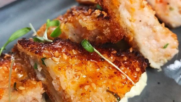 Crispy shrimp toast with chili oil ginger at Marsh House