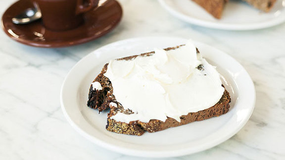 Chef Erik Lowe reviews Rye toast w/ cream cheese at The Mill