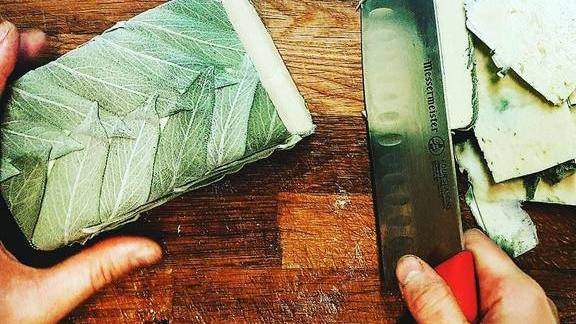 Chef Robert Belcham reviews Sage-wrapped taleggio cultured-aged butter at Campagnolo