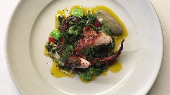 Octopus, fennel, nettle, fava greens, salsa verde, olive, and blood orange at Aster
