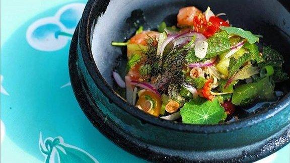 Larb salmon crudo  at East Side King Thai Kun