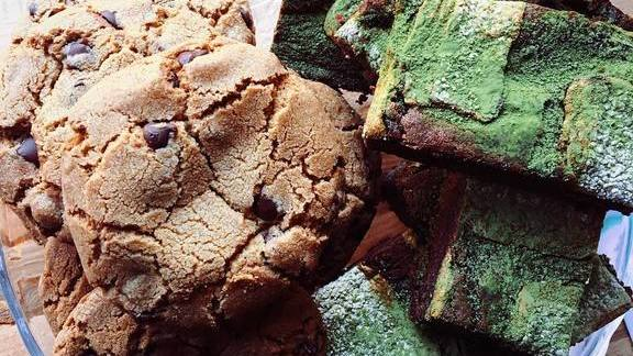 Adzuki bean and matcha marshmallow brownies along with roasted tea chocolate chip cookies at Kim Jong Smokehouse