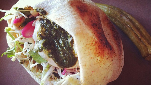 Chef Joe Dimaio reviews Lamb pita at Butcher & Bee