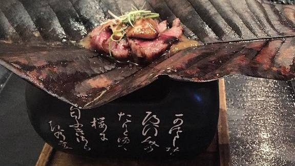 A5 wagyu beef and Hudson Valley foie gras slow-cooked and seared over binchotan charcoal at N/Naka