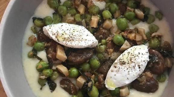 Grits, goat's milk curds, 8-hour favas, yuzu blaster, peas, mint at Al's Place