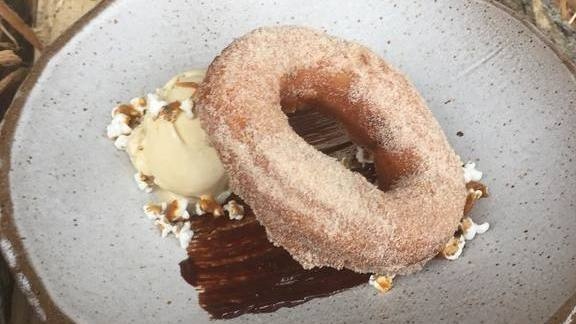 Chef Hal Holden-Bache reviews Donut with sorghum ice cream, chocolate sauce, and sorghum  at Lockeland Table