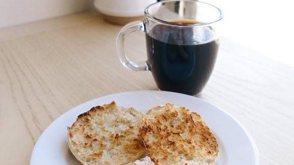 Chef Caitlin Freeman reviews English muffin and black coffee at Fayuca