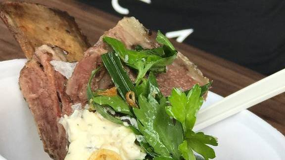 Chef David Bull reviews Beef short rib spring onion jam, salsa verde, smoked mushroom butter at Farmstead at Long Meadow Ranch