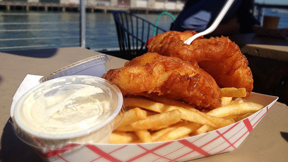 Fish & chips at Red's Java House