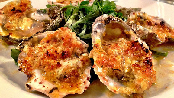Hog Island barbecued oysters at Hank's Oyster Bar