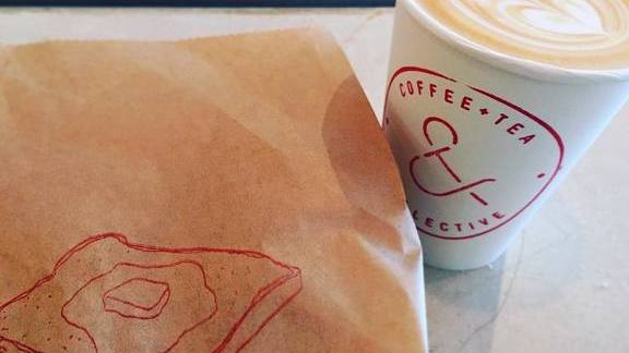 Latte and Lemon Poppyseed Tea Cake at Coffee & Tea Collective