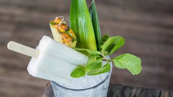 Chef Brian Redzikowski reviews Piña colada popsicle at Kettner Exchange