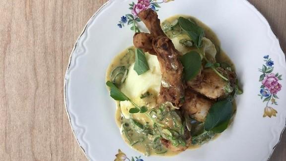 Frog Legs Grenobloise, pommes purée, capers, butter, shallot, garlic at Restaurant St Jack