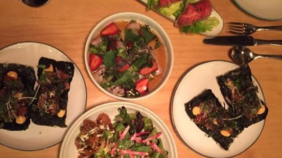 Wagyu beef, poke salad and Hawaiian hors d'oeuvres at Liholiho Yacht Club