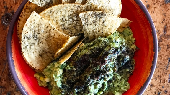 Guacamole with morita chile ash & grasshopper salt at Zona Blanca Ceviche