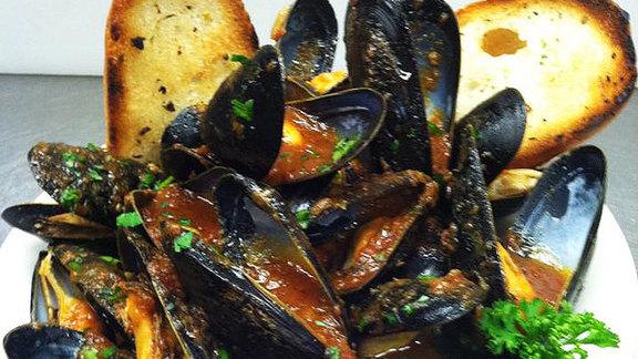 Bomb Bomb's famous mussels at Bomb Bombs Italian Restaurant