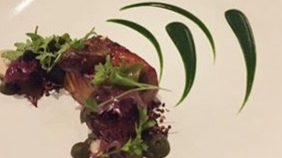 Chef Marisa Churchill reviews Salmon with sunchoke, seaweed and cilantro at